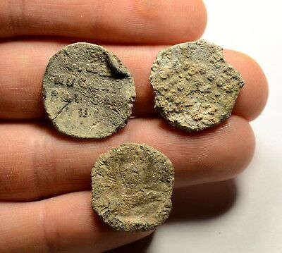 Ancient Byzantine Period Lead Seal - Lot Of 3
