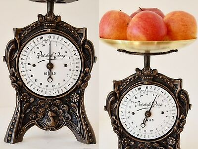 Antique, Shabby Chic, Vintage, Old German Kitchen Scale - PEACOCK