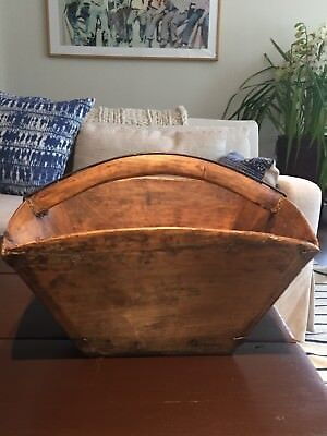 Vintage Handcrafted Wooden Chinese Basket Grain Peck Measurer Scoop Rice Bucket