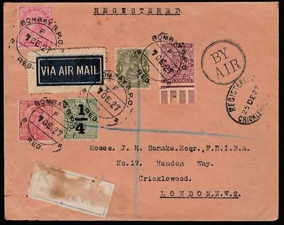 1927 Bombay India Via Basrah Kuwait Reg. Air Cover To London, Inverted Overprint