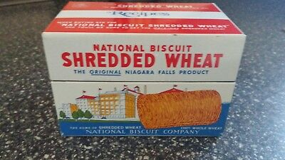 Vintage Advertising Tin Shredded Wheat Recipe Box Metal National Biscuit 1973