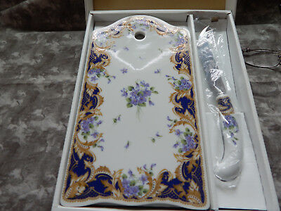 """Andrea by Sadek """"Royal Violets"""" Cake Cheese Tray & Knife Purple with Gold"""