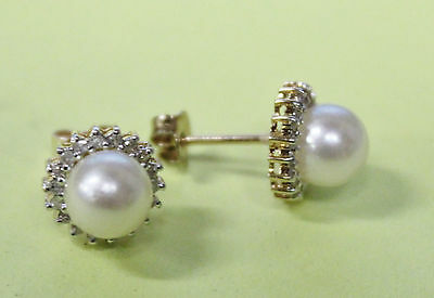 E6 Gorgeous Pair of PEARL EARRINGS STUDS SOLID 18K Yellow GOLD elegant LQQK