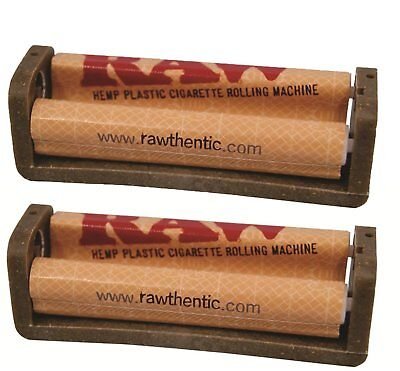 Raw Natural Rolling Papers Hemp Plastic Cigarette Rolling Machine, 79mm. 2 Packs