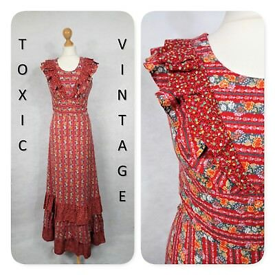 VINTAGE 1960s 1970s RED BETTY BARCLAY FLORAL STRIPED MAXI DRESS UK 10 RETRO CHIC
