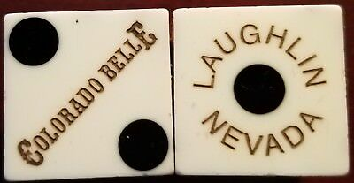 Casino Dice Matching Pair (Colorado Belle Hotel and Casino - Laughlin, NV) WHITE
