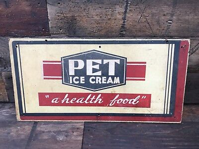 "Vintage Pet  Ice Cream Milk Grocery Store  Sign 24""x12"" A Health Food"