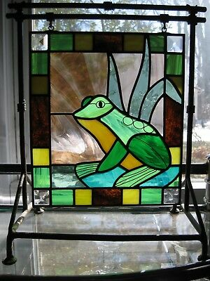 """Adorable Frog Stained Glass Hanging Window with Metal Stand, 9"""" x 8"""""""