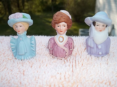 3 Avon Vintage American Lady Fashion Thimbles from 1982 & 1983 - Ex Condition