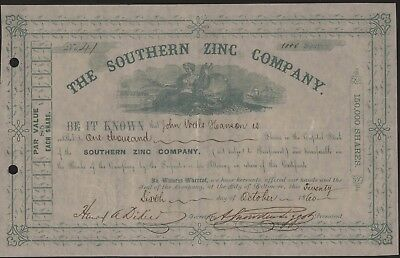 THE SOUTHERN ZINC CO Stock Certificate 1860 1000 Shares Baltimore Mining