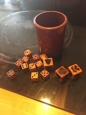 Vintage Dice Cup And Dice As Found