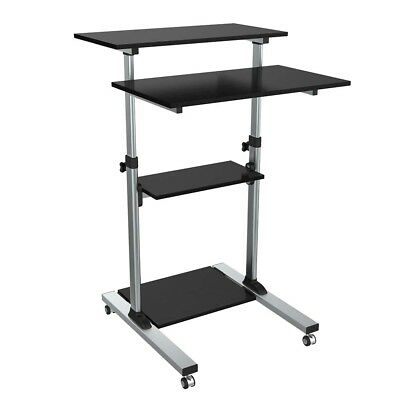 Adjustable Height Laptop Notebook PC Table Desk Stand Up Workstation w/ Casters