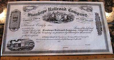STANHOPE RAILROAD COMPANY STOCK CERTIFICATE New Jersey 1870's
