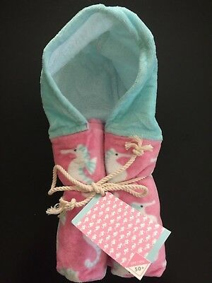 Pottery Barn Kids Baby Nursery Beach Wrap Pink and Blue Allover Seahorse 3M-3T