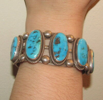 Vintage Navajo 5 Stone Sterling and Turquoise Row Bracelet 76 Grams-SALE