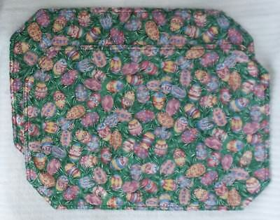 Longaberger PLACEMATS Retired 1996 EASTER EGG TWO Colorful Revisible Padded