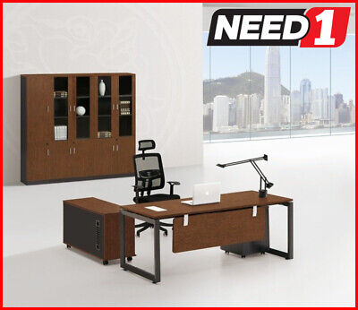 Changeable Return Executive Desk with Side Return & 3 Drawers Cabinet - Walnut