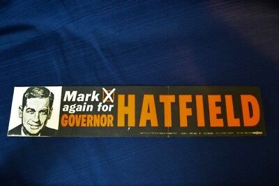 Vintage MARK HATFIELD FOR GOVERNOR Bumper Sticker Oregon