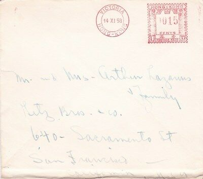 1958 Hong Kong Victoria Meter on Unsealed Surface Mail Rate Cover to US *d