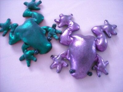TWO Weighted FROGS in PINK and GREEN Metallic Fabric.....Collectible !!