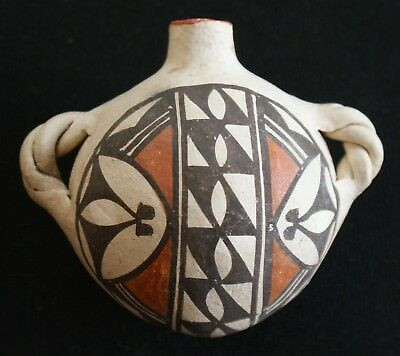 Vintage Acoma Indian Pueblo Pottery Polychrome Mini Canteen W/ 2 Twisted Lugs