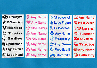 26 Printed Iron-On Name Labels Personalised School Quality Tape Tags for Clothes