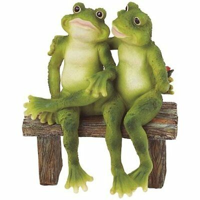 Green Frog Lovers Statue Couple Sculpture On Bench Outdoor Yard Home Lawn Gift
