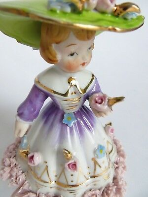 Vintage Napco Porcelain Spaghetti Figurine in Floppy Hat  591A