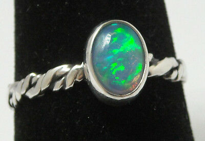 925 Sterling Silver Ring Womens Size 7.5 Natural Blue Green Fire Opal Twist Band