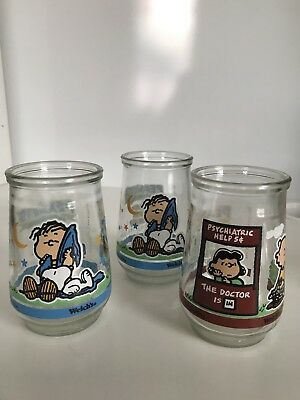 3 Welches Jelly Glass Peanuts Charlie Brown Vintage 1990s