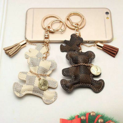 Leather Cute Bear With Tassel Style Purse Key Chain Keyring Phone Handbag Gift