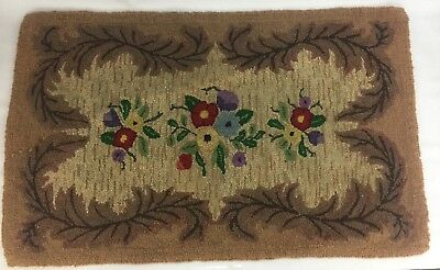 American Primitive Antique Hand Hooked Wool Rug Burlap Country Floral Folk Art