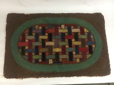 American Primitive Antique Hand Hooked Wool Rug Burlap Woven Colorful Folk Art