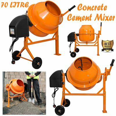 Large 70 Lire Pro Electric Concrete Cement Mixers Stand & Wheels Machine 250W UK