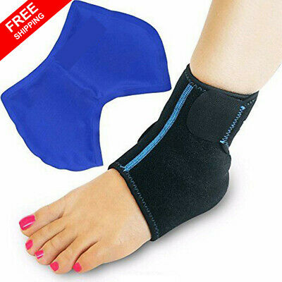Foot Ankle Ice Wrap with Hot Cold Gel Pack Adjustable Brace