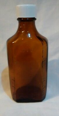 """Vintage Brown Amber Heavy Glass Medicine bottles 5"""" Tall Apothicary Duraglas"""