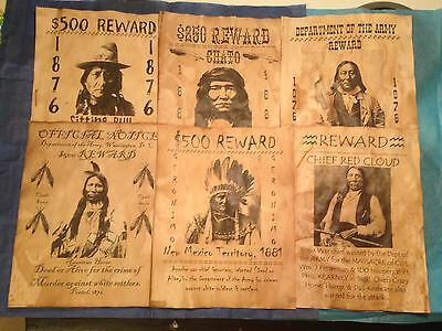 6 Old West Wanted Posters Western Indian Geronimo Sitting Bull Little Big Horn