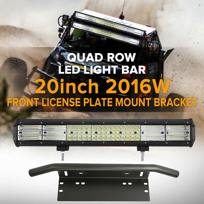 20inch 2016W QUAD ROW LED Work Light Bar & Number Plate Frame Mount Bracket 4X4
