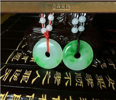 1pc Chinese Natural jade hand-carved Lucky white green pingan buckle pendant