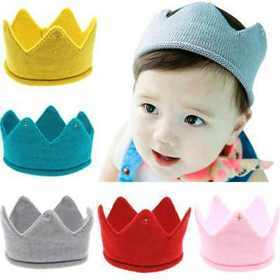 Fashion Woolen Yarn Soft Cap Cute Baby Crown Knit Headband Hat Hair Accessories