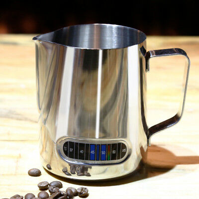 Stainless Steel Coffee Milk Frothing Pitcher Jug w/ Integrated Thermometer 600ml