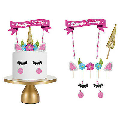 1 Set Unicorn Cake Topper Kids Baby Shower Happy Birthday Party Cupcake Flags