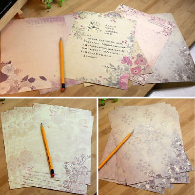 10Pcs Random Retro Flower Printing Letter Writing Paper Stationery Gifts Supply