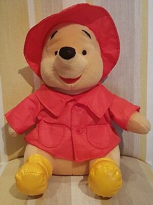 """Winnie the Pooh in Red Hat and Raincoat 12"""" Plush Soft Toy by Disney NEW"""