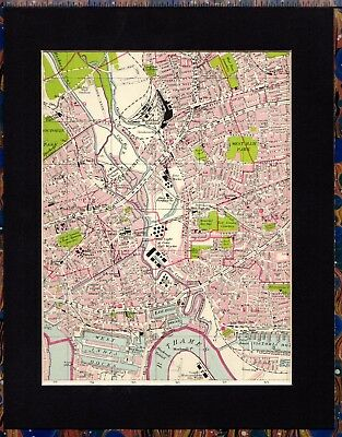 Antique MAP ~ NORTH EAST LONDON West Ham STRATFORD Etc.~ 1934 MOUNTED Original