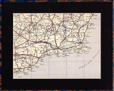 Antique MAP ~ SOUTHERN IRELAND Tipperary WATERFORD Etc. ~ 1934 MOUNTED Original