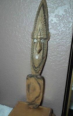 New Guinea,south pacific hand carved,wooden shell eyes figural spoon or? Oceania
