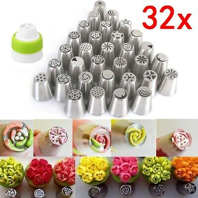 32Pcs Russian Icing Piping Nozzles Flower Cake Decorating Tips Pastry Tools Set