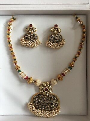 Indian Jewellery set, Gold, Red & Green, Pearls, diamanté, kundan,from Chohans