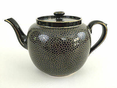 Gibsons ceramic teapot X394 England black and gold